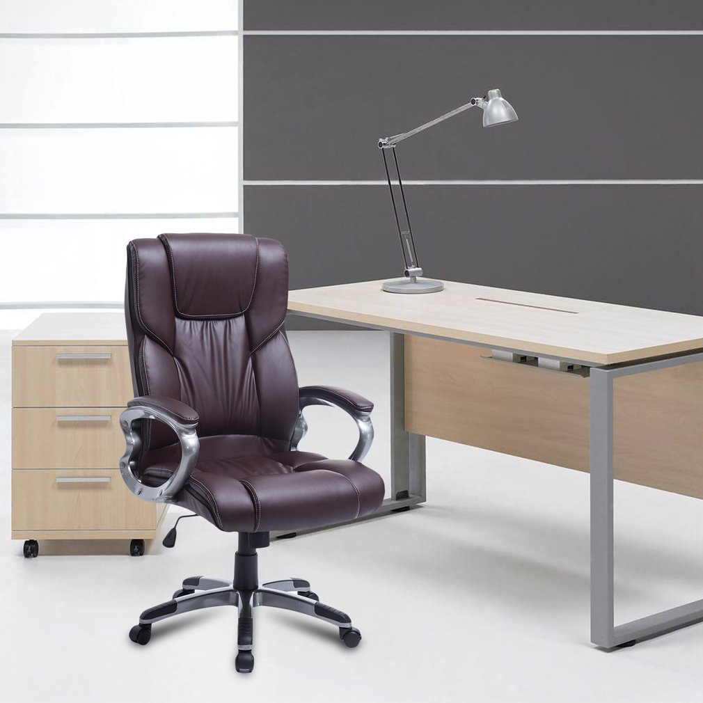 PU Leather High Back Home Office Adjustable Height Chair With Armrest Ergonomic Soft Spring Pack Padding Computer Desk