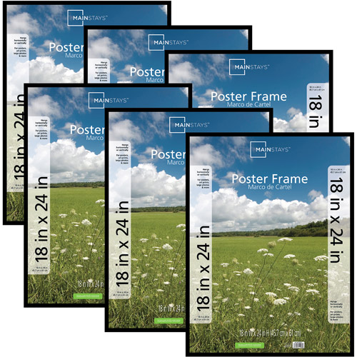 Mainstays 18x24 Basic Poster & Picture Frame, Black, Set of 6