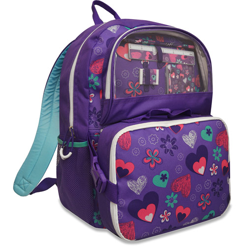 """Sweetheart Floral Everything 17"""" Backpack with Bonus School Supplies and Lunch Bag"""