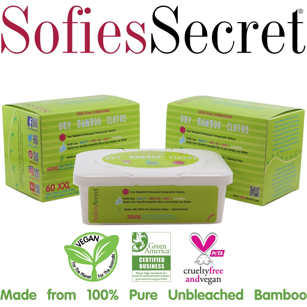 SofiesSecret Unbleached Bamboo DRY Wipes, Extra Thick. XXL, 2 Refills & 1 FREE TUB, 120 Count ? Multi-Use:... by SofiesSecret