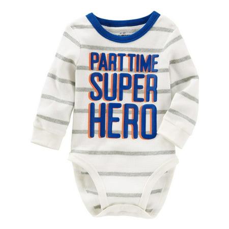 OshKosh B'gosh Baby Boys' Super Hero Thermal Bodysuit - Superhero Bodysuit
