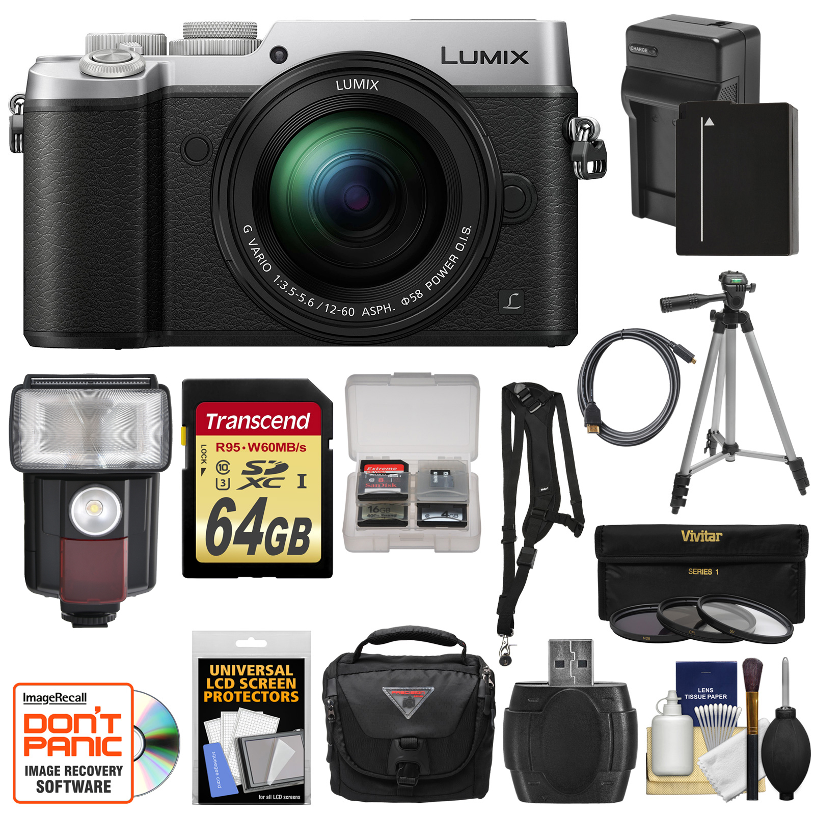Panasonic Lumix DMC-GX8 4K Wi-Fi Digital Camera Body (Black) with 12-60mm Lens + 64GB Card + Battery & Charger... by Panasonic