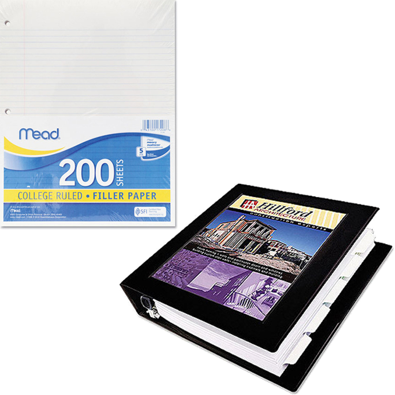 """Mead Filler Paper, College Ruled, 3-Hole Punched, 11 x 8-1/2, 200 Sheets Per Pack and Avery Durable Slant Easy Insert 4"""" Ring View Binder Bundle"""