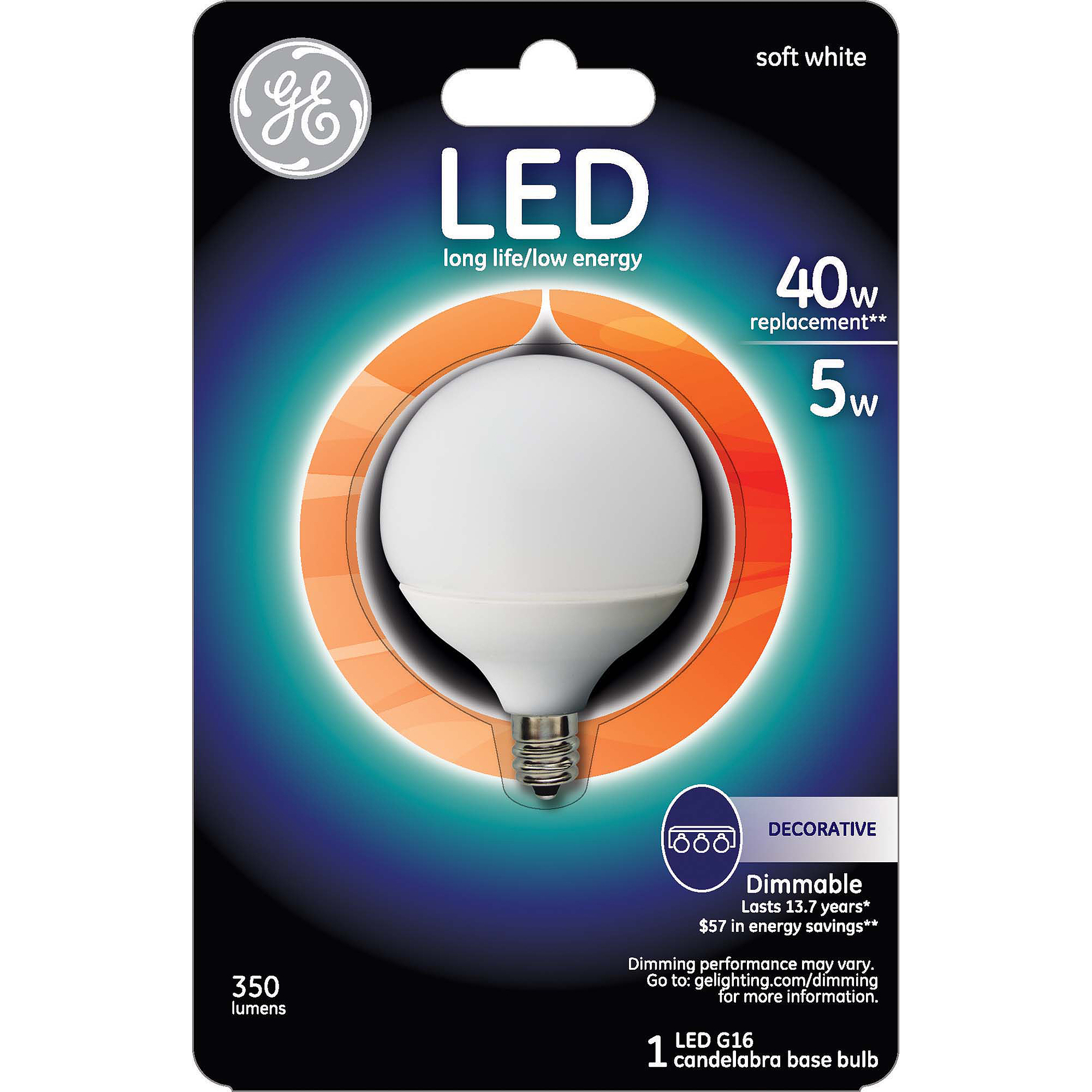 GE LED 5W Small Globe Soft White Light Bulb