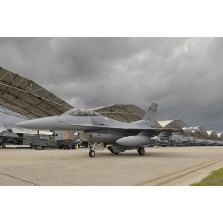 LAMINATED POSTER F-16 taxiing past the hangar on McEntire Joint National Guard Base Jets assigned to the 157th Fighte Poster Print 24 x 36