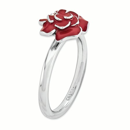 925 Sterling Silver Rose Band Ring Size 10.00 Stackable Fine Jewelry Gifts For Women For Her - image 2 of 7
