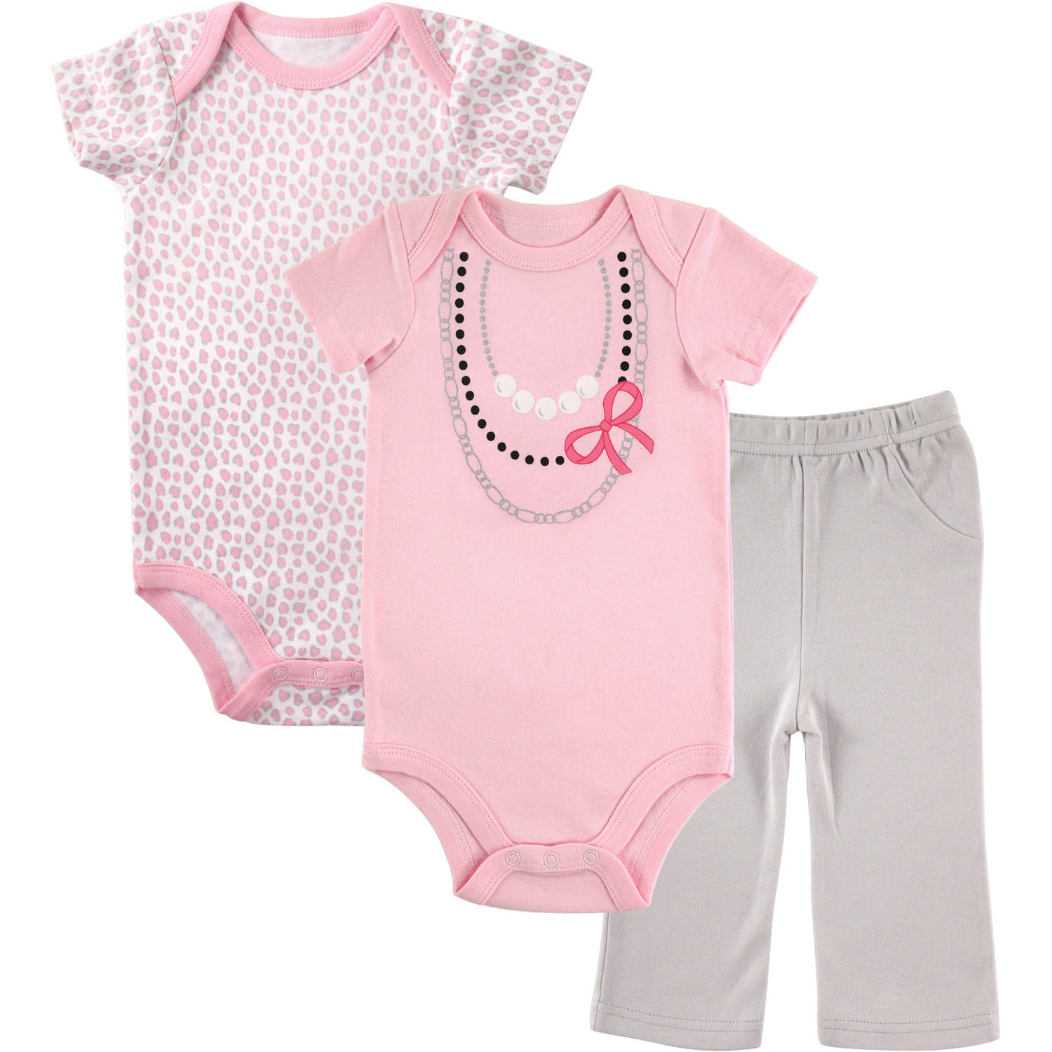 Luvable Friends Newborn Baby Girls 2 Bodysuit and Pants Set, Necklace