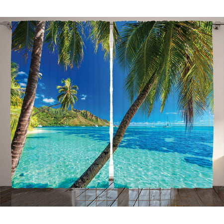 Ocean Decor Curtains 2 Panels Set, Image Of A Tropical Island With Palm Trees And Bright Sea Beach Theme Print Decor, Living Room Bedroom Accessories, By