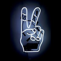 """Oliver Gal 'Peace' Neon Sign - White, 12"""" x 22"""""""