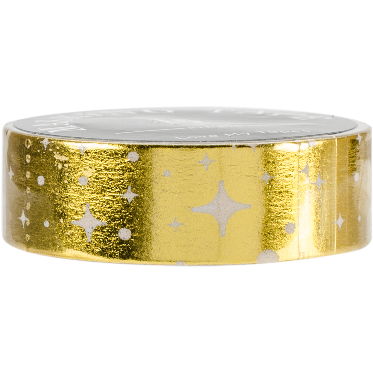 Love My Tapes Foil Washi Tape 15mmx10m-Gold White Stars