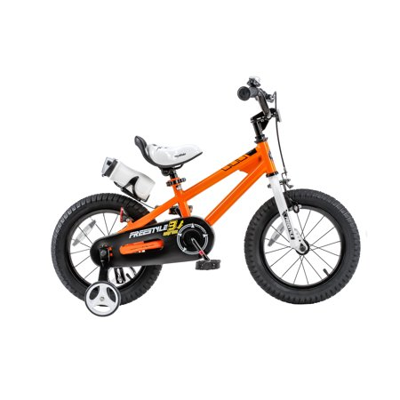 RoyalBaby BMX Freestyle Kids Bike, Boy's Bikes and Girl's Bikes with training wheels, Gifts for children, 12 inch wheels, Orange
