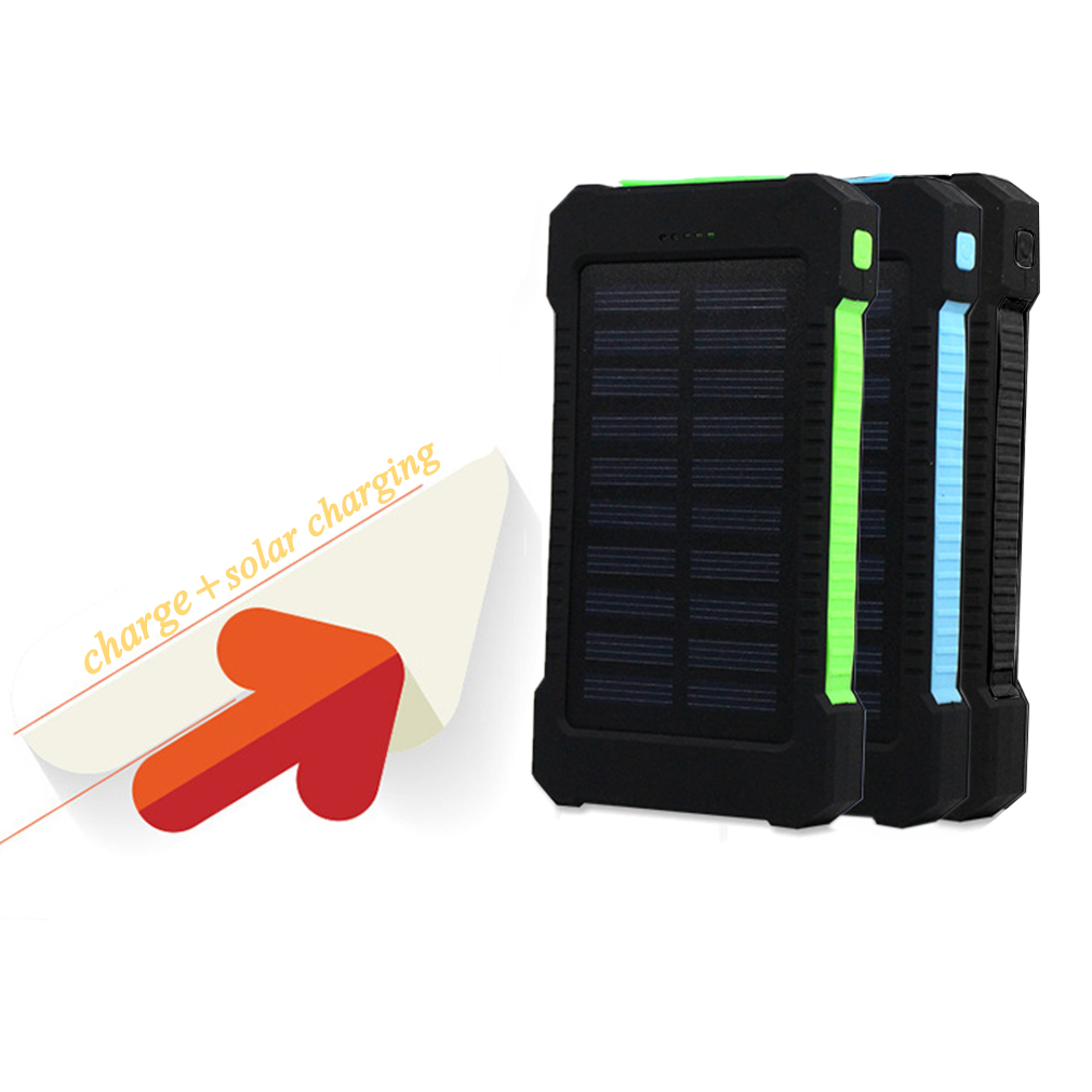 Black Green 300000mAh Dual USB Portable Solar Battery Charger Solar Power Bank by OUTAD