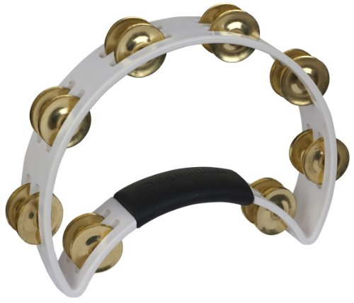 The Rhythm Tech Tambourine-Color:White with Brass Jingles by RhythmTech