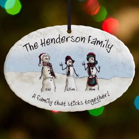 Personalized Snowmen Stick Family Christmas Ornament](Personalized Football Ornaments)