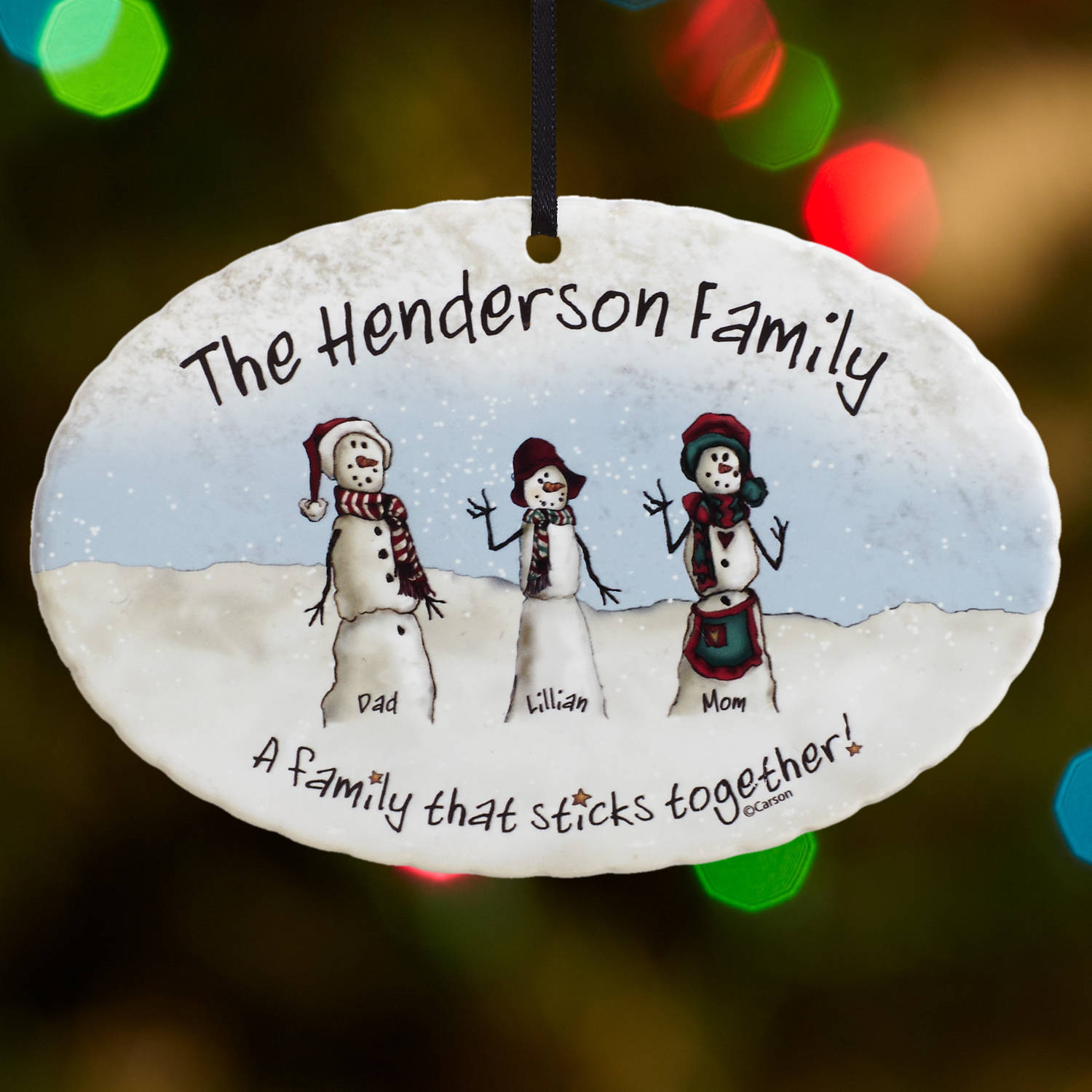 Personalized Snowmen Stick Family Christmas Ornament