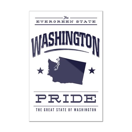 Washington State Acrylic (Washington State Pride - Blue on White - Lantern Press Artwork (8x12 Acrylic Wall Art Gallery Quality) )