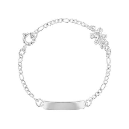 Silver Plated Teddy - Silver Plated Teddy Bear Bracelet Link Identification Toddler Children Kids 5