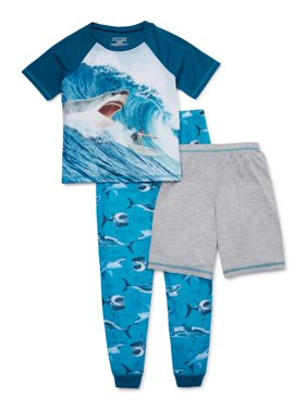 Komar Kids Boys 4-16 'Shark' Short Sleeve, Long Pant with Shorts, 3-Piece Pajama Set