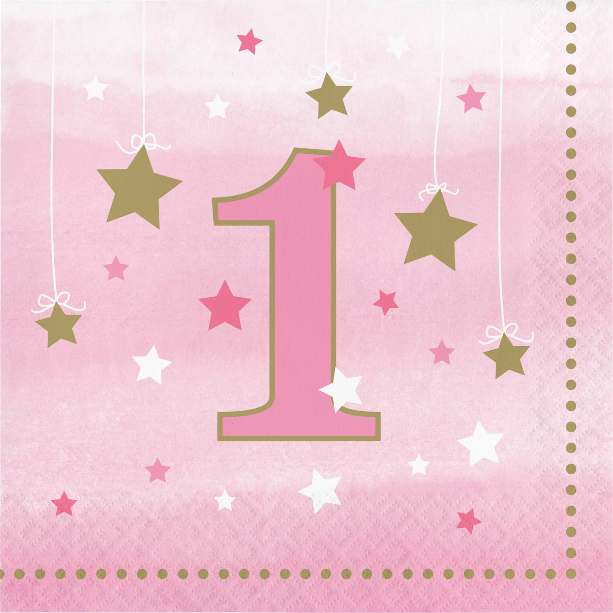Little Star Girl 1st Birthday Napkins, 16-Pack