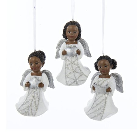 club pack of 12 silver and white african american little angel decorative christmas ornaments