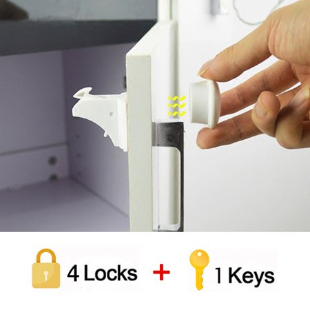 10Pcs/Set Magnetic Cabinet Locks Child Proof Baby Safety Set - No Tools Or Screws Needed(4 Locks + 1