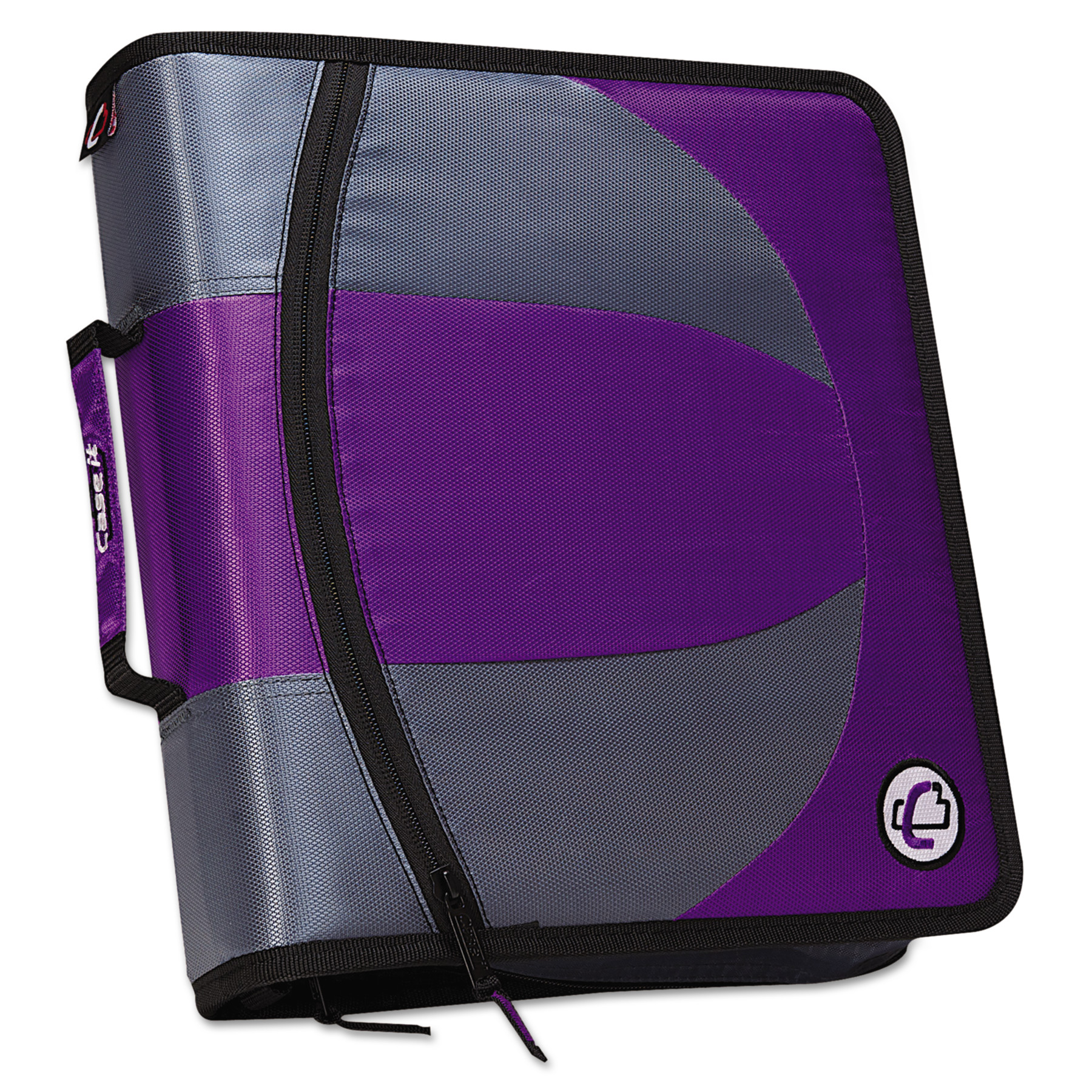 "Case it Dual Zipper Binder, 3"" Capacity, 8-1/2 x 11, Purple"