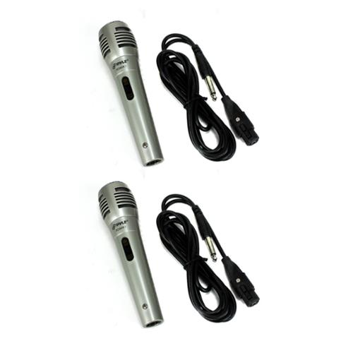 2) PYLE PDMIK1 Professional Moving Coil Dynamic Handheld Microphones Mic + Cable by