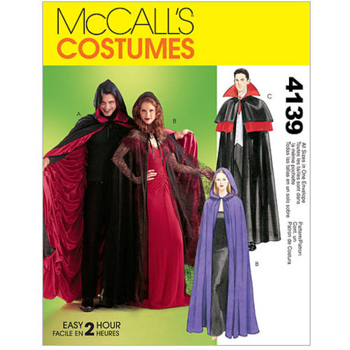 McCall's Misses', Men's and Teen Boys' Lined and Unlined Cape Costumes, All Sizes in 1 Envelope
