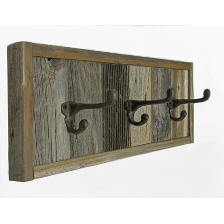 "wall mounted towel rack 19.5"" 3-hook, reclaimed barnwood"