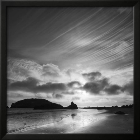 Oregon Harris Beach State Park Black And White Image Of Sunset At Ocean Low Tide Framed Print Wall Art By Judith Zimmerman
