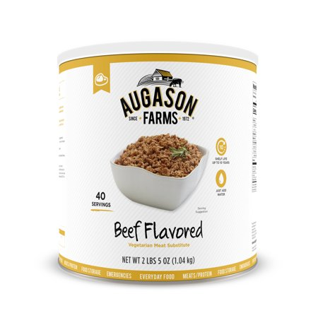 Augason Farms Beef Flavored Vegetarian Meat Substitute 2 Lbs 5 Oz No  10 Can