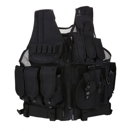Knifun Outdoor Tactical Vest 600D Airsoft Military Vest Adjustable Breathable Combat Training Vest for Men & Women Paintball Secret Service , Hunting, Army Fans, CS War Game, Survival Game, (Best Upland Hunting Strap Vest)