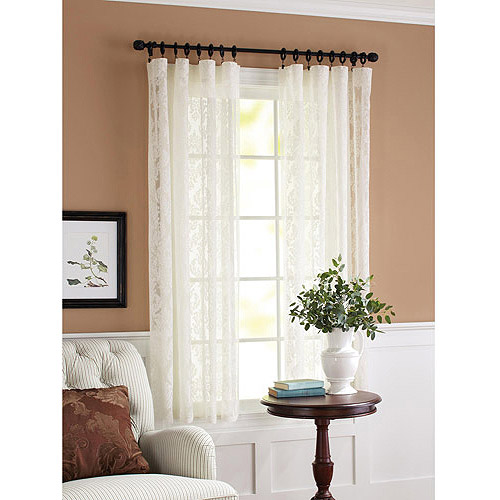 Better Homes and Gardens Lace Damask Curtain Panel, Cream