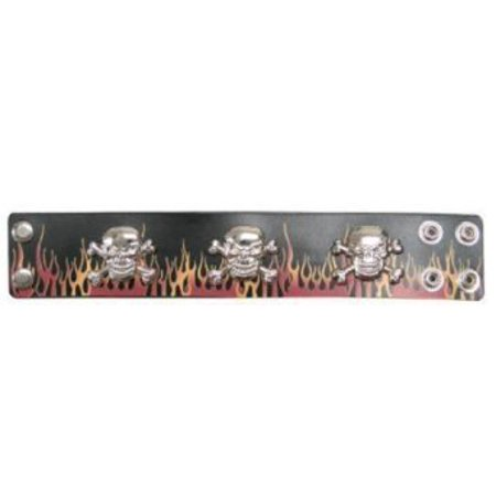 Leather Wristband with Metal Skulls and Fire - Black Skull Wristband