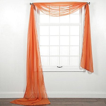 1 PC SOLID ORANGE SCARF VALANCE SOFT SHEER VOILE WINDOW PANEL CURTAIN 216