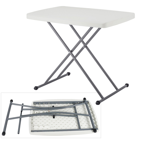 Personal Folding Table | Adjustable Study Portable TV Tray Desk Sewing Laptop Desk w/ HDPE Top Powder Coated Iron Frame, 30