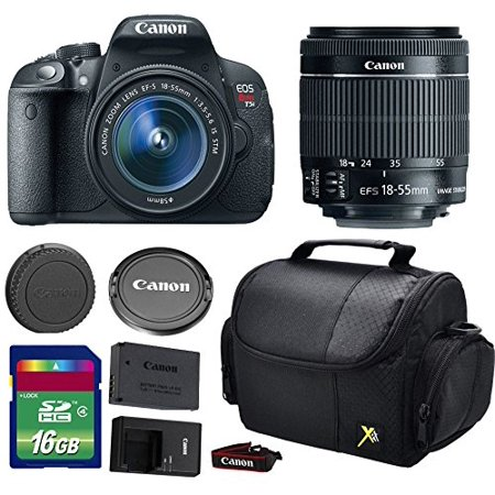 Canon T5i DSLR Camera + 18-55mm f/3.5-5.6 IS STM Lens + 16 GB SDHC Memory Card + Front Lens Cap + Rear Lens Cap + Strap + Camera Case - International Version ()