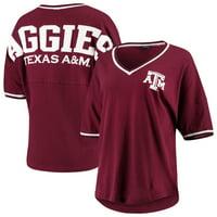 Texas A&M Aggies Women's Contrast V-Neck Spirit Jersey T-Shirt - Maroon
