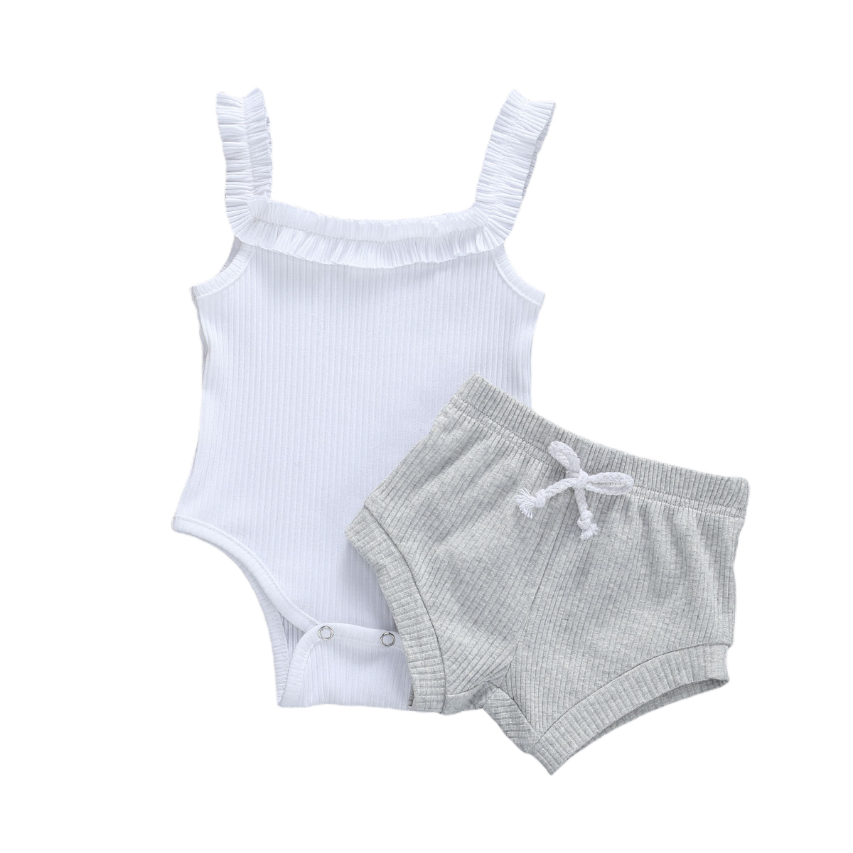 Toddler Baby Girl Summer Outfits White Halter Button Crop Top+Elastic Shorts Pants 3Pcs Clothes Set
