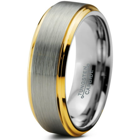 - Tungsten Wedding Band Ring 6mm for Men Women Comfort Fit 18K Yellow Gold Plated Beveled Edge Brushed Polished Lifetime Guarantee
