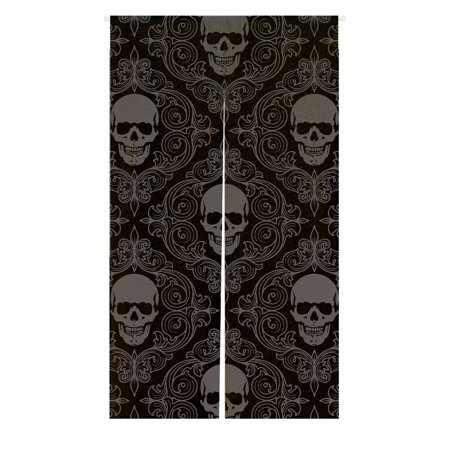 GCKG Dark Balck World Skull With Lacy Pattern Window Door Cover Curtain, Home Decoration Cotton and linen Hanging Curtain Size 85x150 CM World Linen Pattern