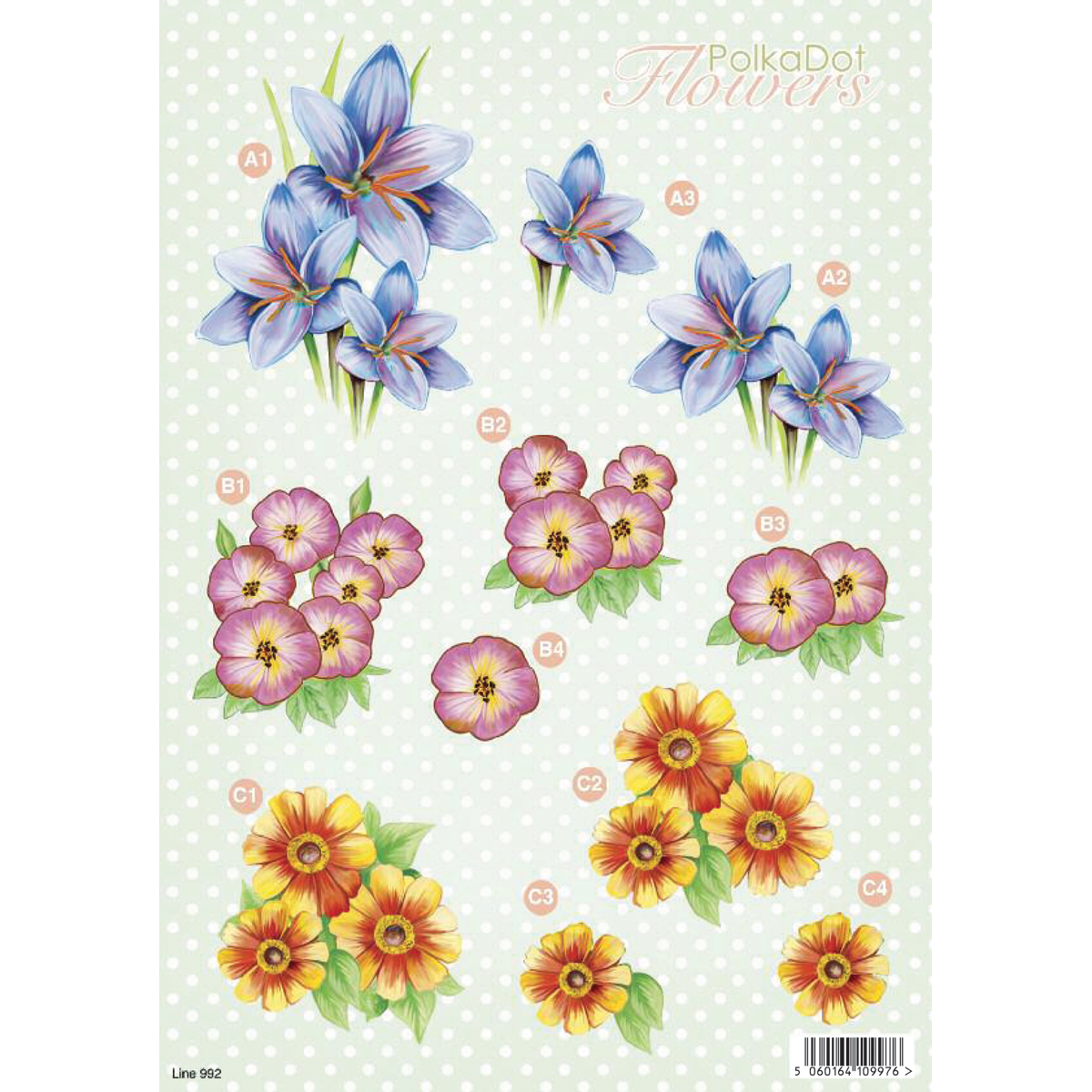 "3D Die-Cut Decoupage Sheet 8.3""X11.69""-Polka Dot Flowers: Blue Lily & Daisy"