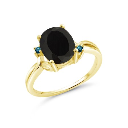 2.53 Ct Oval Black Onyx Blue Diamond 14K Yellow Gold Ring 14k Gold Oval Onyx Ring