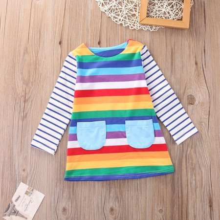 Toddler Kid Girls Long Sleeve Dress Casual Rainbow Color Dress Winter Clothes 1-7 Y (Casual Girls Clothes)
