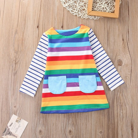 Toddler Kid Girls Long Sleeve Dress Casual Rainbow Color Dress Winter Clothes 1-7 Y (Casual Girl Dresses)