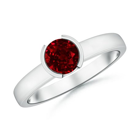 July Birthstone Ring - Semi Bezel-Set Ruby Solitaire Engagement Ring in 14K White Gold (6mm Ruby) - SR0649R-WG-AAAA-6-13