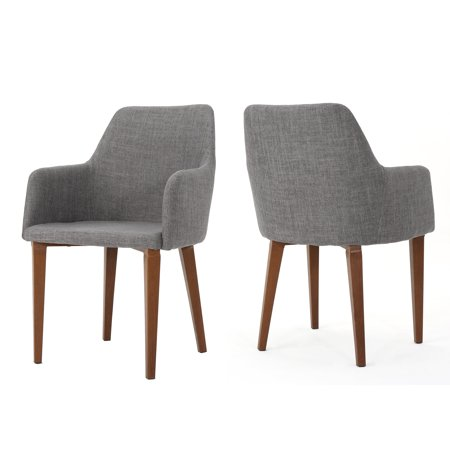 (Ahmanson Fabric Dining Chair with Metal Legs with Wood Finish, Set of 2, Light Grey)