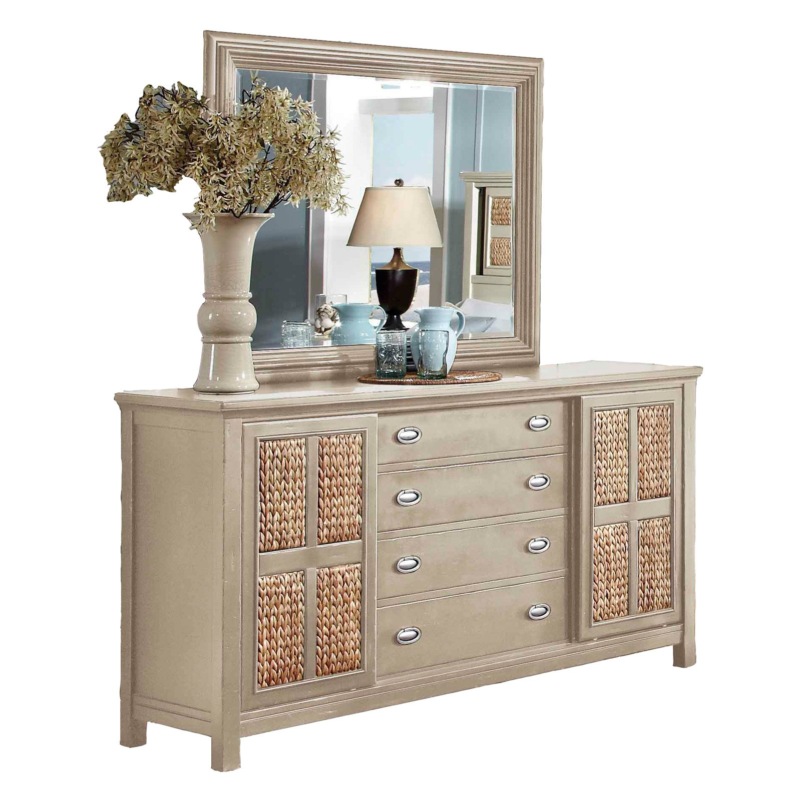 Oasis Home Pacifica 4 Drawer Dresser and Mirror