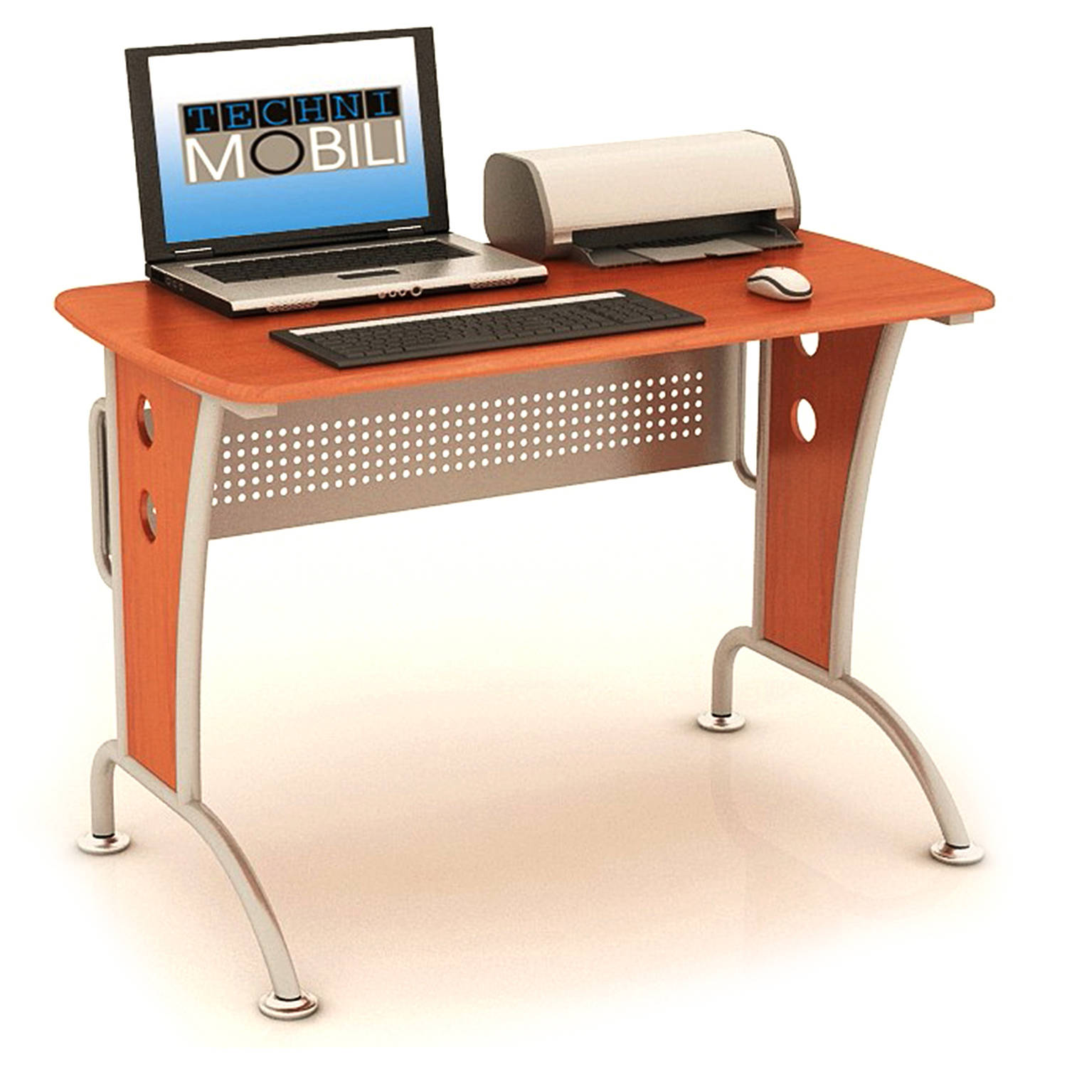 Techni Mobili Computer Desk with Mobile CPU Caddy, Dark Honey
