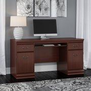 Bush Furniture Birmingham Credenza Desk with Keyboard Tray and Storage in Harvest Cherry